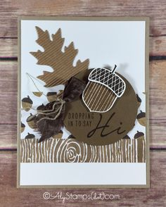 Stampin' Up! Acorny Thank You, Into the Woods, Leaflits Framelits