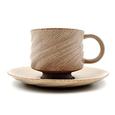Handmade Coffee Cup Set with Saucer, Unique Color and Texture, Simple and Natural Model, Unique Gifts, 5 fl.oz, UC-T5
