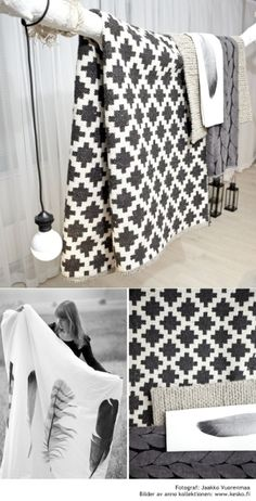 CAISA K. Textiles ♥wouldnt this make a beautiful quilt Textiles, Cute Blankets, Knit Blankets, Black And White Quilts, Black White, Home Interior, Soft Furnishings, Home Accessories, Accessories Display