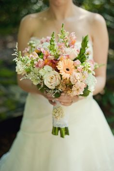 Gorgeous mix of brights and pastels, summer wedding bouquet