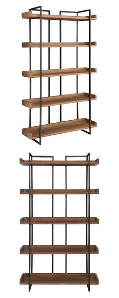 This Juneau Bookshelf creates a mesmerizing silhouette through its strategic use of clean lines. Made with gorgeously finished solid acacia wood shelves and delightfully open iron reinforcements, this ...  Find the Juneau Bookshelf, as seen in the Fresh Industrial Style Collection at http://dotandbo.com/collections/fresh-industrial-style?utm_source=pinterest&utm_medium=organic&db_sku=118097