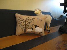 Primitive Cross Stitch Sheep