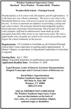 Weathersfield School - Principal Search #WSESUnews West Windsor, Early Childhood Program, Elementary Schools, November, Abs, Student, Search, Research, Searching