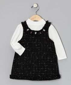 Take a look at this White Top & Black Boucle Jumper - Infant, Toddler & Girls by Youngland on #zulily today!