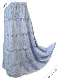 Alki'i Embroidered Full/Ankle Length gypsy bohemian long skirt
