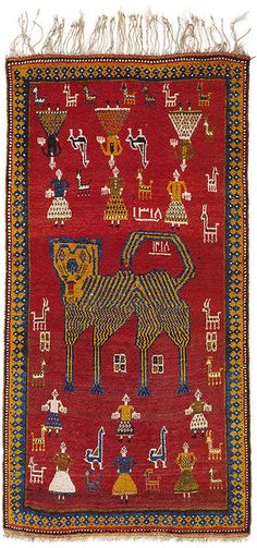 Persian Gabbeh Lion rug c. 1900. Love these whimsical hyper-stylized folk art depictions of animals and daily life.