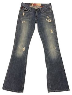 Hollister Distressed Denim Flare Leg Jeans-Distressed