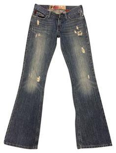 Hollister Distressed Denim Flare Leg Jeans-Distressed