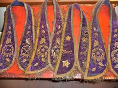 Fantastic Collection of Four Victorian Edwardian Masonic Badge Collars Purple Velvet & Gold Thread Embroidery For Upcycling. $64.00, via Etsy.