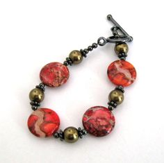 Red Jasper Bracelet Crazy Lace Jasper Coin With by CinLynnBoutique, $25.00
