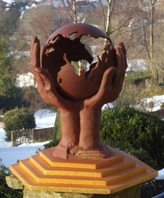 Hand crafted Chocolate Sculpture 'World in Hands'