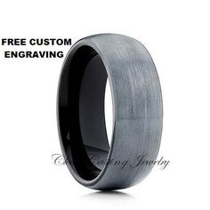 Brushed Black Tungsten Wedding Band,Tungsten Wedding Ring,Tungsten Carbide,Dome…