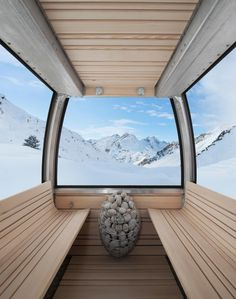 German designers Toni Egger and Felix Tarantik are creating mobile saunas inside the aluminium shells of Swiss ski lift gondolas. The four-person Saunagondel can withstand extreme weather conditions and, with . Sauna House, Sauna Room, Electric Sauna Heater, Mobile Sauna, Portable Steam Sauna, Sauna Design, Green Landscape, Saunas, Travel