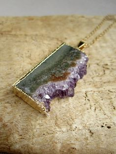 "KEY WEST: Amethyst Druzy Necklace Drusy Quartz Stalactite Slice 14K Gold Fill 30"" Long 