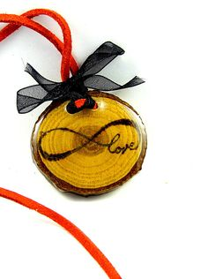 Love Infinity Wood Burned Pendant  Chestnut Tree by LadyDryad