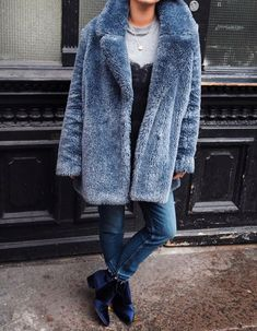 Velvet | Ankle Boots | Blue | Fur Coat | Winter Fashion | Layering | Winter Outfit | Fall Outfit | Trendy  <3 @benitathediva