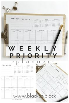 Weekly Priority planner. Free printable planner. A simple planner based on priorities. Calendar, daily priorities, to-do list, notes area and blank space for whatever you need, get yours