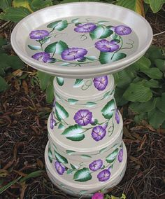 Morning Glory Bird Bath - I would make a lighthouse version using the clay pots and a clear glass/plastic tray