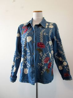 Vintage Floral Denim Shirt Jacket Blue Denim by GroovyGirlGarb