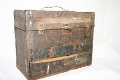 Rustic and Primitive Wood Box with Metal Edging by flattirevintage, $68.00