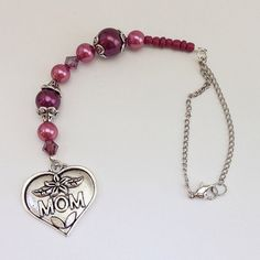 Mauve Plum MOM Heart Shape Beaded Car Charm, Auto Hanging Rear View Mirror Window Ornament Accessory by EverydayWomenJewelry on Etsy https://www.etsy.com/listing/228590687/mauve-plum-mom-heart-shape-beaded-car