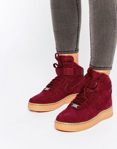 Nike Air Force 1 07 Suede Red Trainers