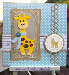 """DIY Babycard with a Giraffe from Collectables Marianne Design (COL1386); Rectangles, """"Classic Circles"""" and Scalloped Circles"""" Spellbinders; Sentiment Whiff of Joy; """"Extra Hearts"""" Marianne Design - More details on my blog."""