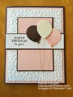 Stamp: Party Pants, Balloon Celebration Paper: Chocolate Chip, Pink Pirouette , White, Dazzling Diamonds Glimmer Paper Ink: Chocolate Chip, Pink Pirouette, Confetti TIEF, Balloon Bouquet Punch, Gold Metallic Thread, Dimensionals