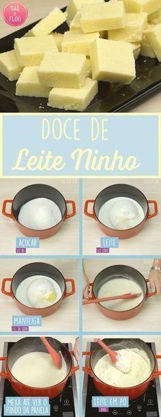 Doce de corte de leite ninho, muito fácil e rápido. Me lembra os doces que meu avô fazia!