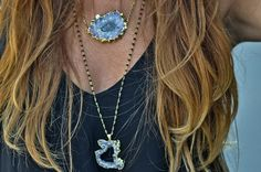 Purple Amethyst / Black Onyx Geode Druzy Necklace - Gold Vermeil Rosary Wire Wrapped Beaded Chain - by Simona Mar