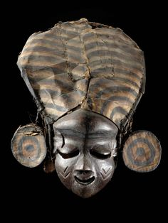 Africa | Mask from the Pende people of DR Congo | Wood, fabric and fiber