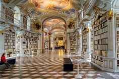 The library – the largest monastic library in the world – at Admont Benedictine Monastery in Austria. The library hall, built in 1776 and designed by architect Joseph Hüber,