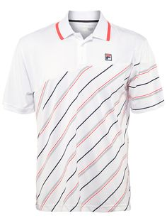 Fila Men's Fall Collezione Stripe Polo Polo Shirt Style, Polo T Shirts, Fila Outfit, Tennis Wear, Camisa Polo, Mens Fall, Classic Outfits, Apparel Design, Sport Outfits