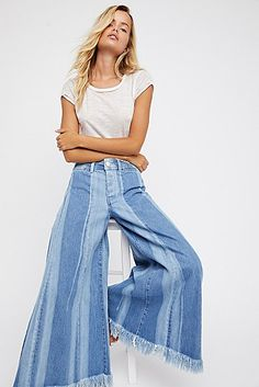 Product Image: Run Through The Moss Wide Leg Jeans Denim Fashion, Fashion Pants, Girl Fashion, Wide Leg Jeans, High Waist Jeans, Estilo Denim, Denim Ideas, Flare Jeans, Diy Clothes