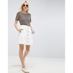 ASOS Denim Button through Skater Skirt in White (1,755 DOP) ❤ liked on Polyvore featuring skirts, white, stretch skirts, white circle skirt, white high waisted skirt, high-waisted skater skirts and high-waisted flared skirts