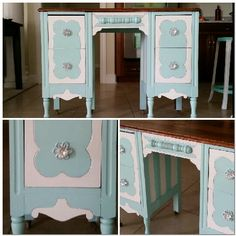 "Great vanity/desk. Painted with Miss Lillian's No-Wax Chock Paint ""Southern Junker's Mother Nature and Snowflake."