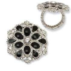 Black golden rings | Silver-tone Black Enamel With Clear Crystals Stretch Ring