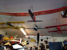 Picture of R/C airplane storage hangers to organize your fleet and clean up your garage.