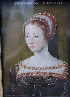 Anne de Pisseleu (1508–1576), Duchesse d'Étampes. Artist unknown, after Corneille de Lyon, possibly dated to c.1540, since this is similar t...