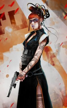 shadowrun; female; human; goth; red-haired; pistol
