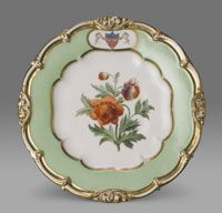 State dinner and dessert service for James K. Polk (President 1845-1849)--Dessert Plate/Made in Champroux, France, Europe c.1846--Made by Edouard D. Honoré, Champroux, France, 1824 - 1855. Imported by Alexander T. Stewart and Company, New York, 1823 - 1875. Porcelain with printed, enamel, and gilt decoration. Diameter: 9 1/4 inches (23.5 cm)