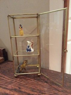 Vintage Curio Cabinet Gold Glass Knickknacks