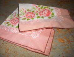 Vintage Handkerchief Floral Pink Roses White by TheBackShak