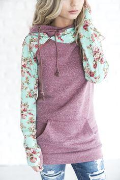 DoubleHood™ Sweatshirt - Berry Floral