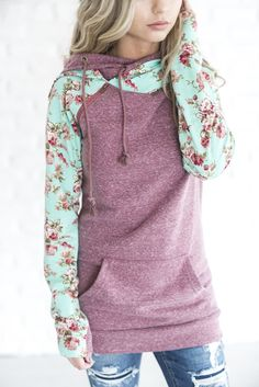 Double Hooded Sweatshirt - Berry Floral [ships 1/17] \ hoodie, sweatshirt, side zip hoodie, floral, floral hoodie, cute sweatshirt, outfit idea, casual, comfy, cute outfit, ootd, style, fashion