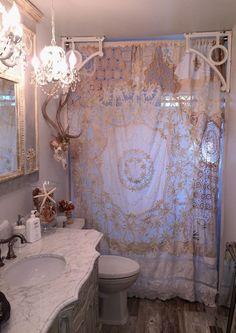 20+ Shabby Chic Shower Curtain Decor Ideas For Beautiful Bathroom