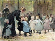 Henri Jules Jean Geoffroy Dit Geo - In The Playground La Pie Monet, Renoir, Illustrations, Illustration Art, Carl Spitzweg, Hans Holbein, Baby Painting, Vintage School, Art For Art Sake