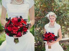 Ramos de novia con rosas: Fotos de las mejores ideas - Bouquet rojo chic