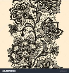 Abstract lace ribbon seamless pattern with elements flowers. Template frame design for card. Lace