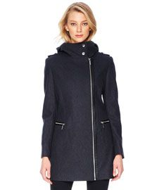 MICHAEL Michael Kors MICHAEL Michael Kors  Faux-Leather-Trim Wool Coat